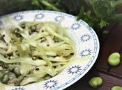 Insalata tagliatelle sedano fave, cipollotti freschi semi canapa