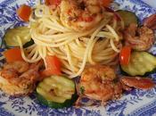 Spaghetti zucchine gamberoni