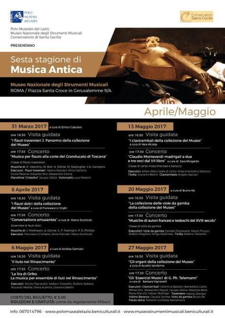 """20 maggio 2017 Concerto """"Musiche di autori francesi e tedeschi del XVIII secolo"""" presso il Museo Nazionale degli Strumenti Musicali"""