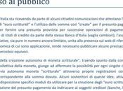 Banca d'Italia l'avviso sulla moneta scritturale
