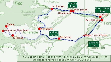 Clickable Map of theFort William & Ardnamurchan Tour