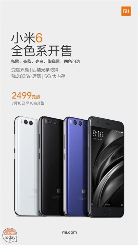 Xiaomi Mi 6 finalmente disponibile in tutte le varianti di colore