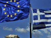 European Greek flags above ancient temple Parthenon atop Acropolis hill Athens 2011. Experts from Union, International Monetary Fund Central Bank (ECB) began audit finan...