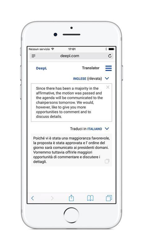 deepl traduttore mobile italiano