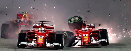 Il video dell'incidente delle Ferrari nel GP di Singapore, visto con gli occhi di Raikkonen