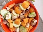 Insalata melone, cetriolo tofu affumicato