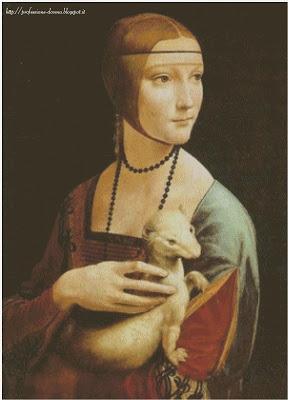 Schema punto croce: La dama con l'ermellino (Leonardo)