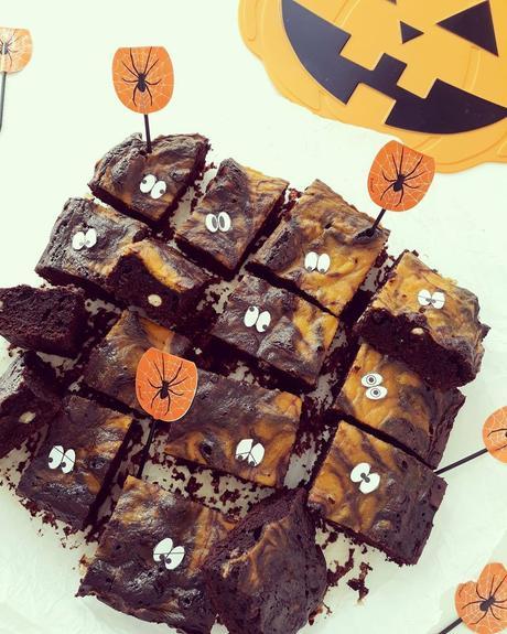 Brownies alla zucca di Halloween senza glutine