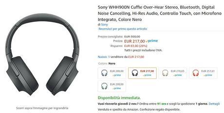 Cuffie Sony WHH900N disponibili su Amazon a 217 euro
