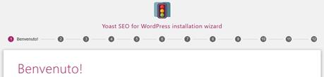 Schermata iniziale della procedura guidata di configurazione del plugin Yoast SEO per WordPress.
