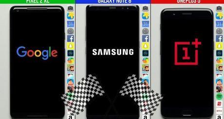 Google Pixel 2 XL vs Samsung Galaxy Note 8 vs OnePlus 5: speed test a confronto