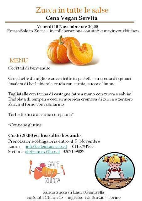 Zucca in tutte le salse - Cena Vegana a Torino