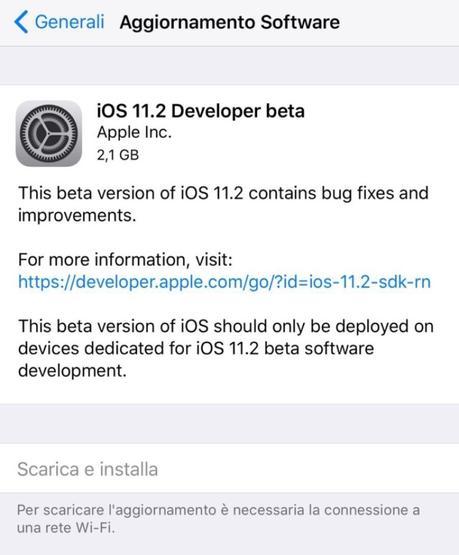 Apple rilascia agli sviluppatori iOS 11.2 beta 1