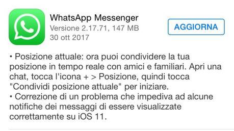 WhatsApp per iOS si aggiorna portando alcune correzioni e novità [Aggiornato Vers. 2.17.71]