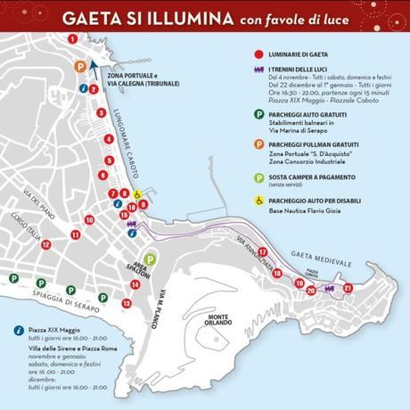 Luci d'artista a Gaeta: la mappa con le postazioni, dove parcheggiare e le info utili