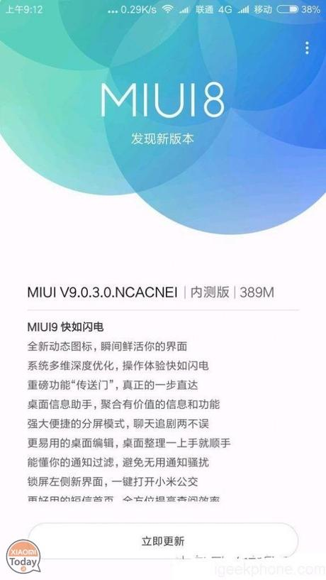 MIUI9 Versione Stabile: si parte da MI 6