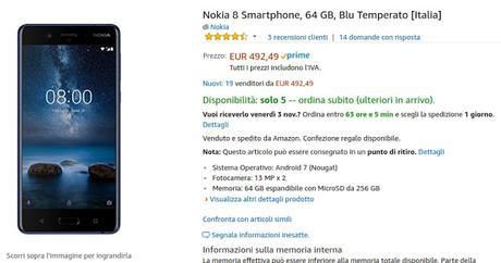 Nokia 8 disponibile a 492 euro venduto e spedito da Amazon