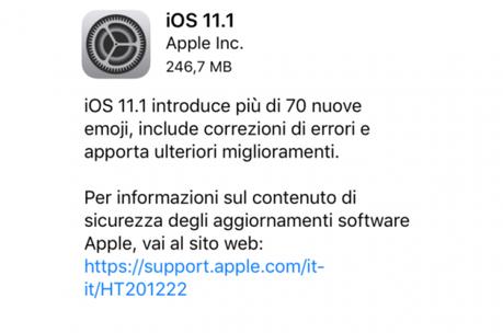 iOS 11.1 – Apple lo rilascia per tutti i suoi dispositivi, Link Diretti al Download