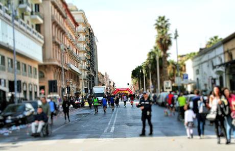 maratona, persone, corridori, traguardo, città, Bari