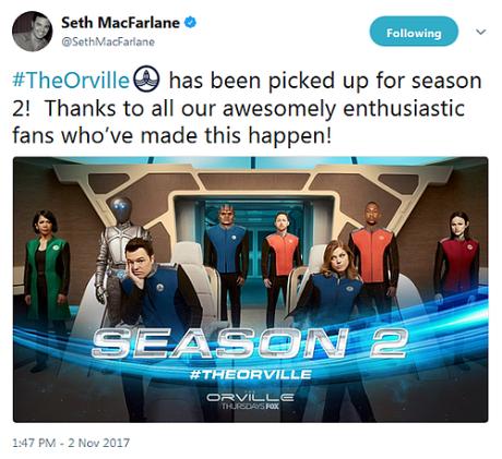 News | The Orville rinnovato per una seconda stagione!