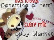 Copertina neonato ferri CUORE knitted baby blanket