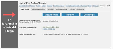 Uno dei migliori plugin per fare il backup completo di un sito in WordPress: Updraftplus.