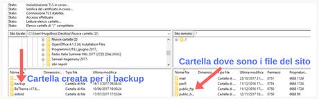Schermata dove selezionare la cartella per il backup dei file wordpress.