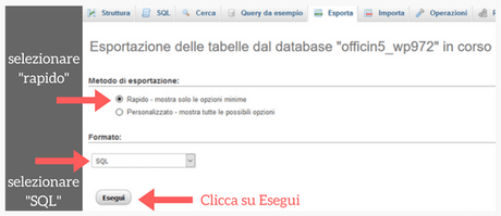 Finalizzazione del backup di WordPress.
