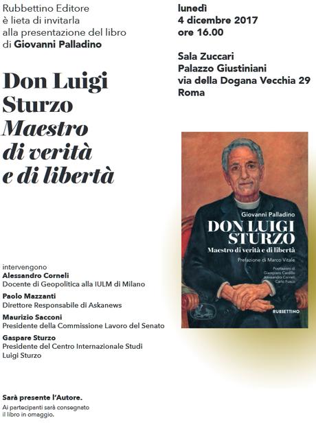 """Senato, presentazione libro Giovanni Palladino """"Don Luigi Sturzo. Maestro di verità e di libertà"""""""