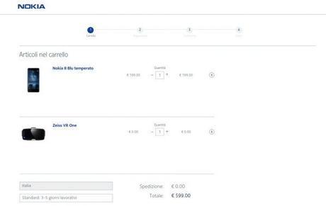 Nokia 8 in offerta sullo shop ufficiale con visore ZEISS VR One in omaggio