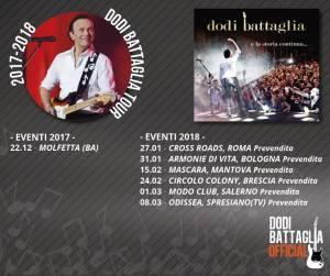 Calendario aggiornato dei prossimi eventi cui Dodi Battaglia parteciperà.