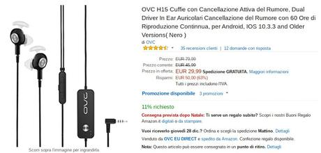 Offerta lampo Amazon: auricolari OVC H15 con tecnologia ANC a 29 euro