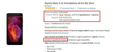 Xiaomi Redmi Note 4 Black 4/64 GB venduto e spedito da Amazon a 199 euro