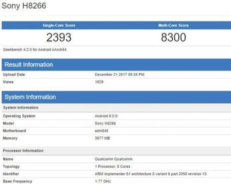 Sony H8266 si mostra su Geekbench con Qualcomm Snapdragon 845