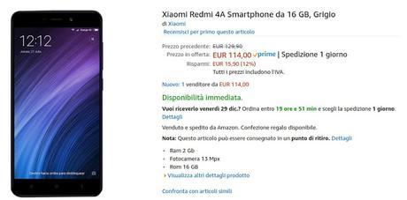 Xiaomi Redmi 4A venduto e spedito da Amazon a 114 euro [Best Buy]