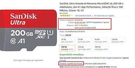 Offerte di fine anno Amazon: microSD da 200 GB SanDisk Ultra Classe 10, A1 a 69 euro venduta e spedita da Amazon