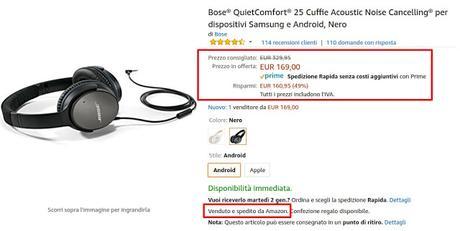 Offerte di fine anno Amazon: cuffie Bose QuietComfort 25 a 169 euro vendute e spedite da Amazon