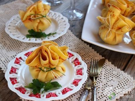 Sacchettini di gamberetti con crema al mascarpone