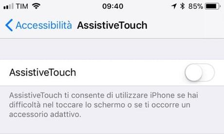 Come aggiungere tasto Home touch screen iPhone e iPad