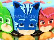 Torta decorata pasta zucchero facce Masks Super Pigiamini Gattoboy, Gufetta Geko