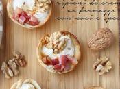 Cestini piadina ripieni crema formaggi noci speck