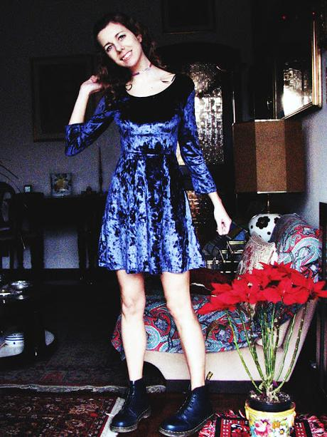 OOTD: Velvet Dress & Laced Boots