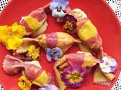 Valentino Veg: caramelle pasta colorata crema ceci pomodori secchi besciamella soia