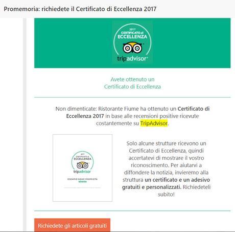 Trip Advisor: il mio ristorante chiuso da un anno ha vinto un certificato di eccellenza