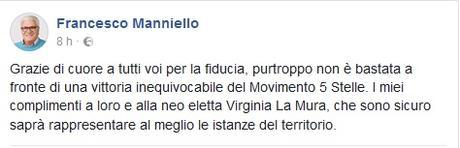 """FOTO – Manniello: """"Grazie di cuore a tutti voi per la fiducia, I miei complimenti al Movimento 5 Stelle"""""""