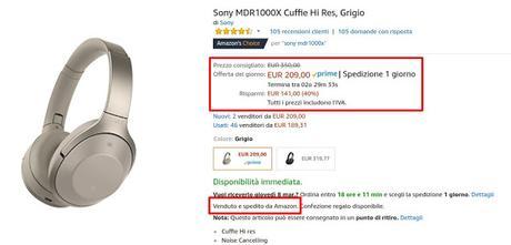 Offerta del giorno Amazon: cuffie Sony MDR1000X con riduzione del rumore a 209 euro vendute e spedite da Amazon