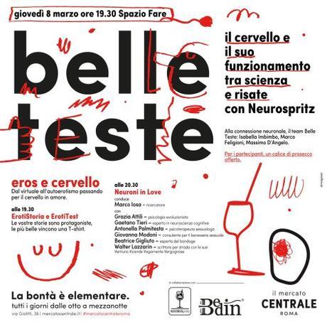 """8 marzo 2018 """"Belle teste – eros e cervello"""" al Mercato Centrale"""