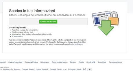 Come scaricare l'archivio di Facebook e scoprire quali dati vengono monitorati