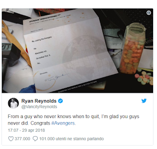Deadpool 2: Ryan Reynolds mostra la lettera con cui Tony Stark
