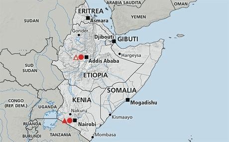Risultati immagini per etiopia gibuti cartina